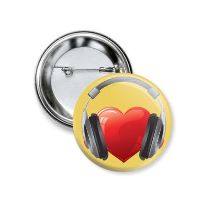 Значок 37мм Music heart