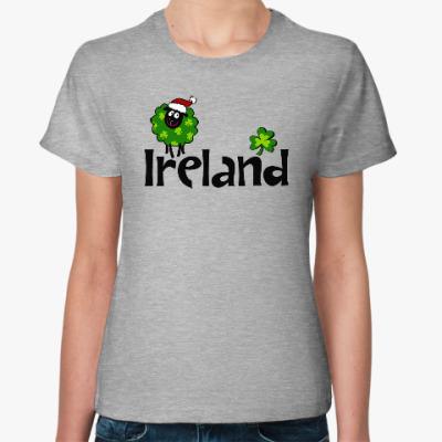 Женская футболка Новогодняя Ireland с овечкой