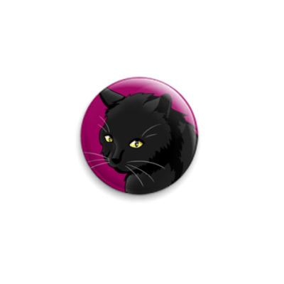 Значок 25мм  'Черный кот'