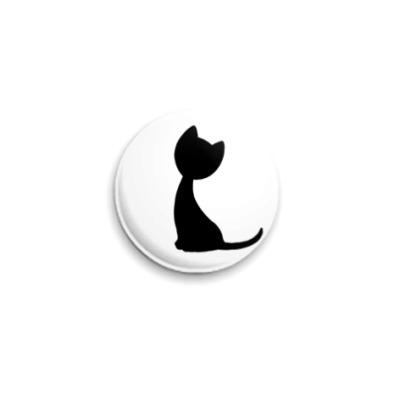 Значок 25мм Черная кошка