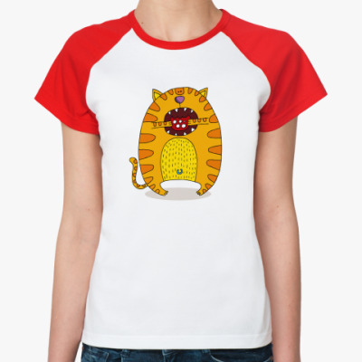 Женская футболка реглан Батон с колбасой