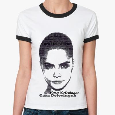 Женская футболка Ringer-T Cara Delevingne/Кара Делевинь
