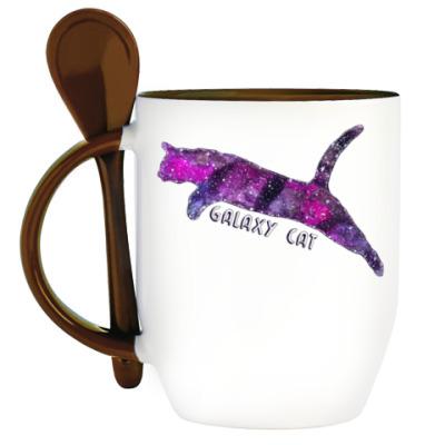 Кружка с ложкой Галактический кот