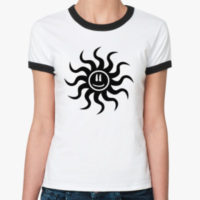 Женская футболка Ringer-T Black Sun