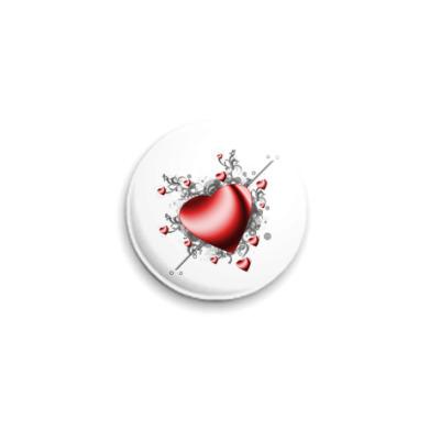 Значок 25мм  'Сердце в сердечках'