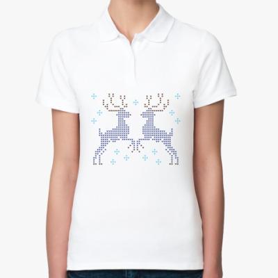 Женская рубашка поло Олени вязаные