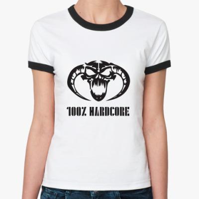 Женская футболка Ringer-T 100% Hardcore