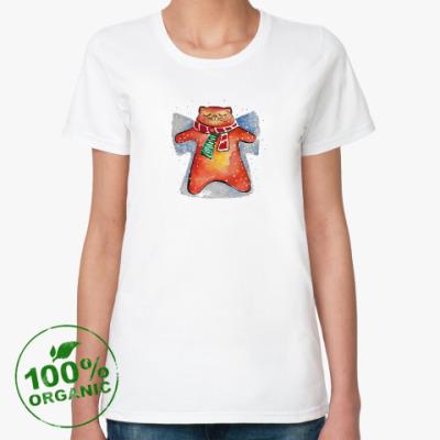 Женская футболка из органик-хлопка Снежный Кот
