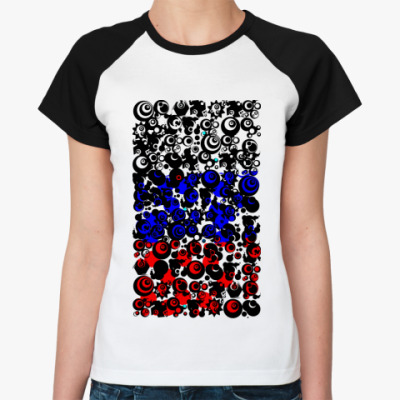 Женская футболка реглан российский флаг