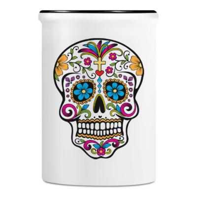Подставка для ручек и карандашей Мексиканский череп Calavera