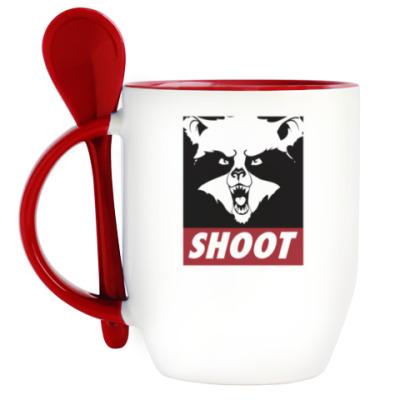 Кружка с ложкой Raccoon Shoot
