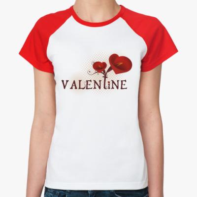 Женская футболка реглан valentine