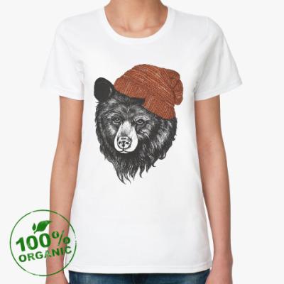Женская футболка из органик-хлопка Медведь в шапке