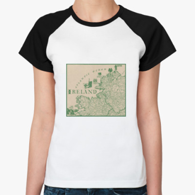 Женская футболка реглан ireland map
