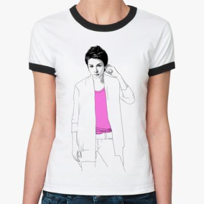 Женская футболка Ringer-T  Ж ()Тома rose