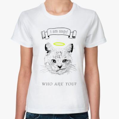 Классическая футболка Кот ангел с нимбом над головой