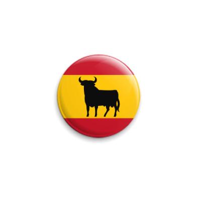 Значок 25мм Флаг Испании с быком
