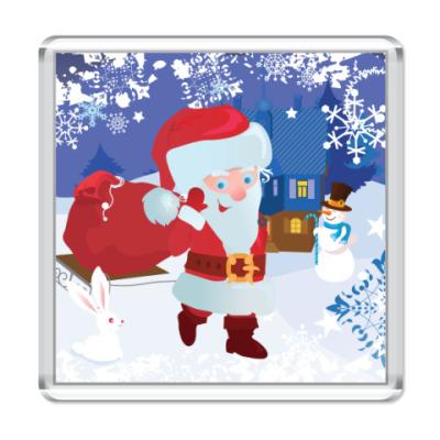 Магнит Санта с подарками