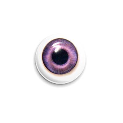 Значок 25мм  Глаз - фиолетовый