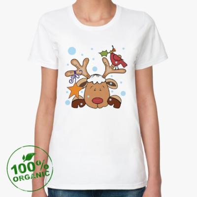 Женская футболка из органик-хлопка Новогодний олень и снегирь