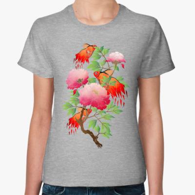 Женская футболка Цветы и рыбки