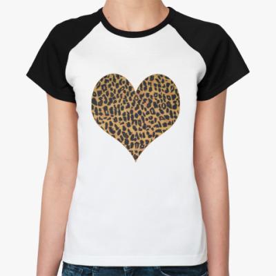 Женская футболка реглан  LEOPARD HEART