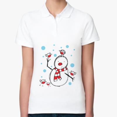 Женская рубашка поло Снеговик