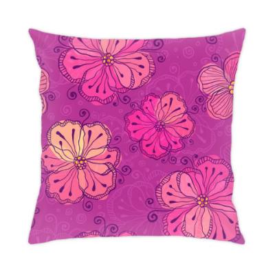Подушка Пурпурные цветы
