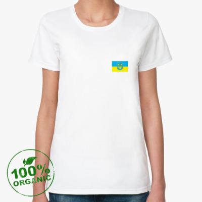 Женская футболка из органик-хлопка Украина. Герб и Флаг