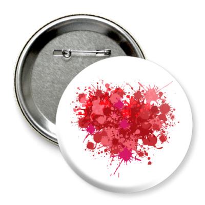 Значок 75мм Сердце из брызг краски