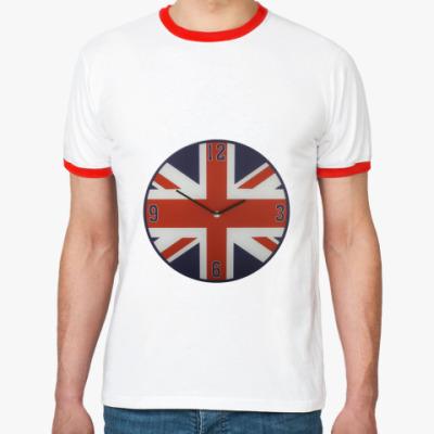 Футболка Ringer-T Часы с британским флагом