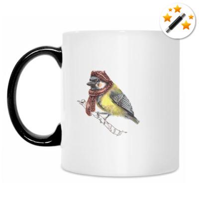 Кружка-хамелеон маленькая птица (синица)