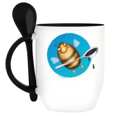 Кружка с ложкой  Пчела