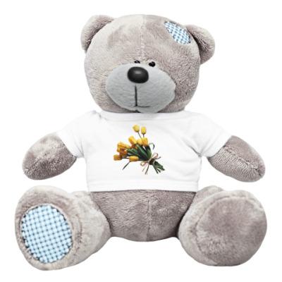 Плюшевый мишка Тедди тюльпаны