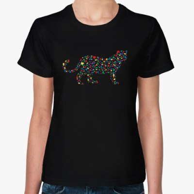Женская футболка Цветной Кот