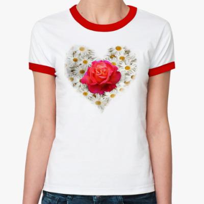 Женская футболка Ringer-T Роза в сердце