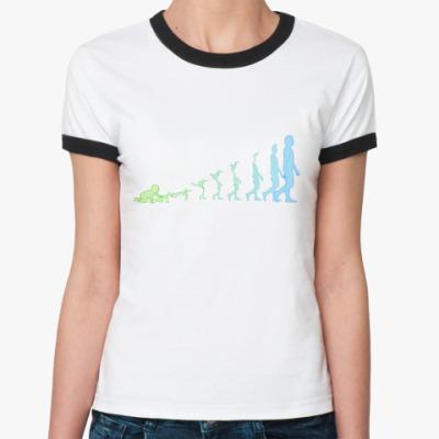 Женская футболка Ringer-T Цифровой взгляд на процесс