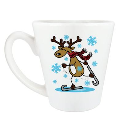 Чашка Латте Олень на коньках