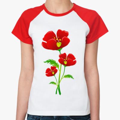 Женская футболка реглан Красные маки