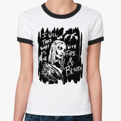 Женская футболка Ringer-T Игра престолов. Арья Старк