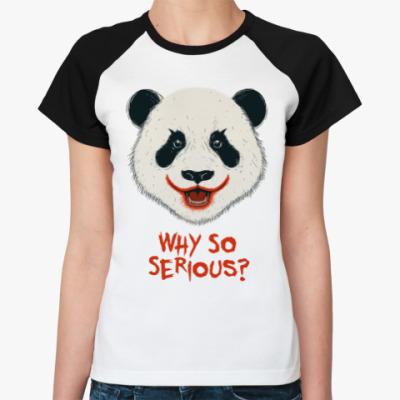 Женская футболка реглан Панда Джокер
