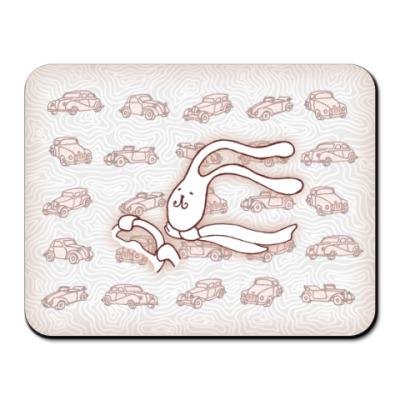 Коврик для мыши 'Кролик-автомобилист'