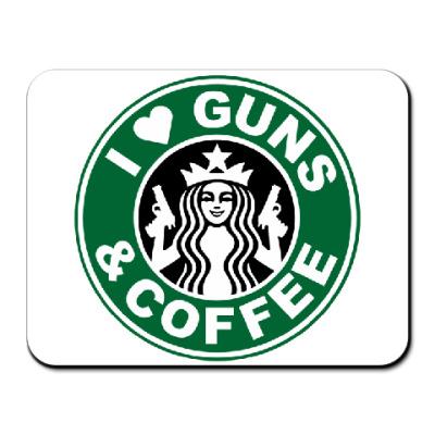 Коврик для мыши Guns & coffee