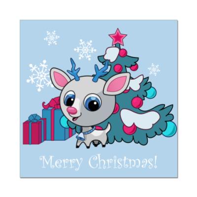 Наклейка (стикер)  С Рождеством!