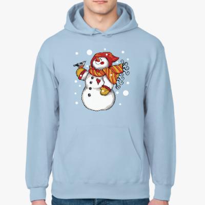 Толстовка худи Снеговик и снегирь