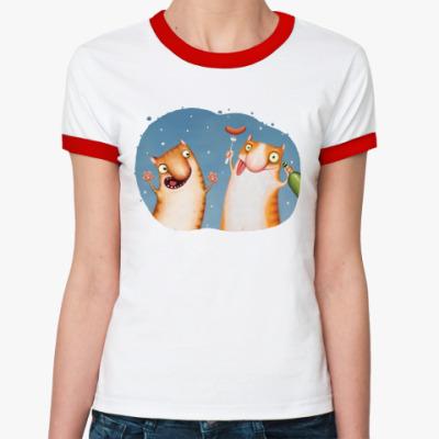 Женская футболка Ringer-T Пьяные Коты