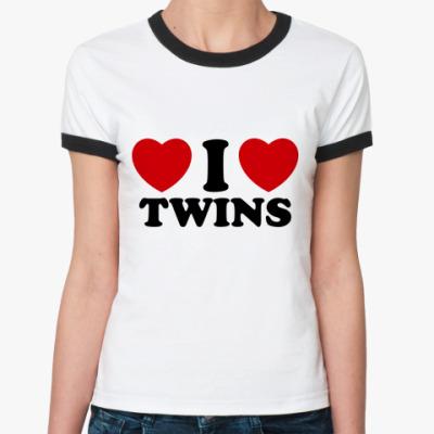 Женская футболка Ringer-T I Love Twins