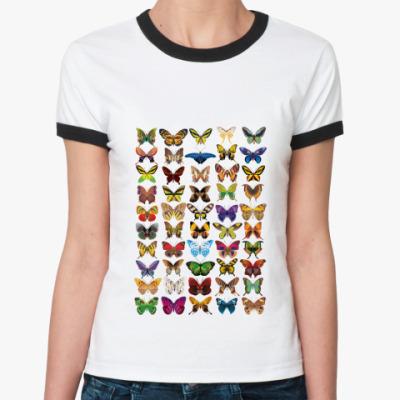 Женская футболка Ringer-T Бабочки