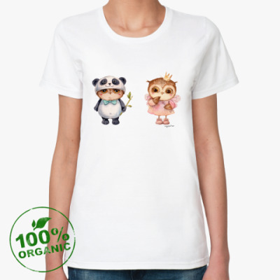 Женская футболка из органик-хлопка Принцесса и панда