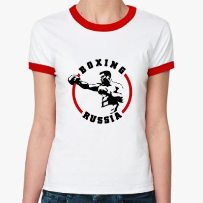 Женская футболка Ringer-T Boxing Russia